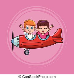 かわいい, 飛行機, 子供, 飛行