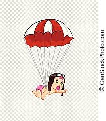 かわいい, 飛行, パラシュート, 女の赤ん坊, 帽子, 漫画, パイロット