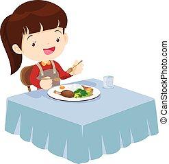 かわいい, 食べること, そう, おいしい, 女の子, 幸せ