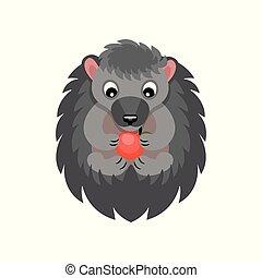かわいい, 食べること, 動物, 灰色, 甘い, アップル, 特徴, イラスト, ベクトル, 背景, 白, 漫画, 赤, ハリネズミ