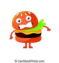 かわいい, 食物, 大きい, 特徴, 速い, バーガー, ベクトル, イラスト, eyes., 怖がらせられた, 漫画, emoji