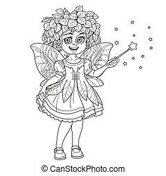 かわいい, 魔法の 細い棒, 春, 概説された, 隔離された, 女の子, 衣装, 背景, 妖精, 白