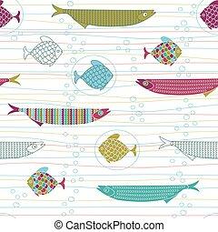かわいい, 魚, パターン, seamless, ストライプ, 手, bu, 引かれる, 空気