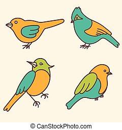 かわいい, 鳥, セット, ベクトル, 漫画