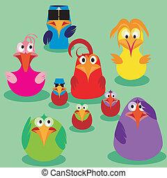 かわいい, 鳥, 家族, issues.