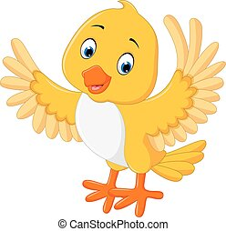 かわいい, 鳥, 黄色, 漫画