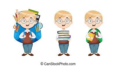 かわいい, 3, 男生徒, ポーズを取る, 背中, school., セット