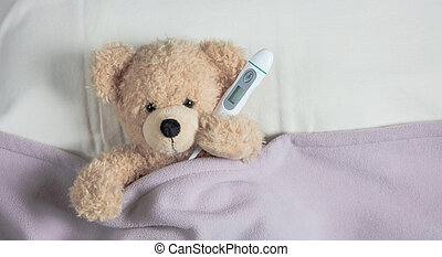 かわいい, allergy., 毛布, テディ, 暖かい, 煙道, ベッド, 組織, 保有物, カバーされた, 寒い, ∥あるいは∥