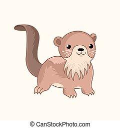かわいい, animal., 漫画, パーティー, tシャツ, 面白い, デザイン, otter., 装飾, ...