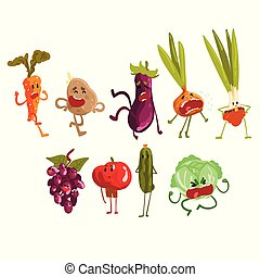 かわいい, artoon, フルーツ, そして, 野菜, セット, eco, 食物, 特徴, ∥で∥, おかしい表面,...