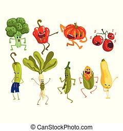 かわいい, artoon, 野菜, セット, 食物, 特徴, ∥で∥, おかしい表面, ベクトル, イラスト