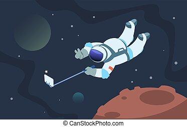 かわいい, astronaut., 宇宙飛行士, selfie, 宇宙人, スペース, ポスター, 取得, 漫画, 写真...