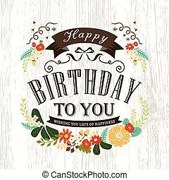 かわいい, birthday, デザイン, カード, 幸せ