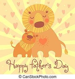 かわいい, card., cub., 父, ライオン, 日, 幸せ
