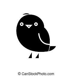 かわいい, chiken, イラスト, 隔離された, 印, ベクトル, 黒い背景, アイコン