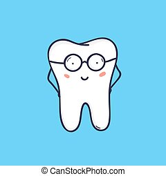 かわいい, clinic., 微笑, 青, 面白い, 特徴, 隔離された, バックグラウンド。, 味方, 痛みなさい, 幸せ, 身に着けていること, 平ら, カラフルである, シンボル, glasses., orthodontic, 漫画, マスコット, illustration., 歯医者の, 歯, ベクトル, ∥あるいは∥