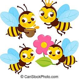 かわいい, collection., 蜂, ベクトル, イラスト