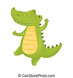 かわいい, crocodile., イラスト, バックグラウンド。, ベクトル, 緑の白, humanized
