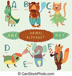 かわいい, d, ワニ, カラフルである, c, 非常に, f, ねこ, 犬, letters., b, デザイン, alphabet.a, 熊, 象, e, style., fox.alphabet