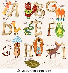 かわいい, d, alphabet., b, デザイン, h, f, style., アルファベット, らくだ, レトロ, 動物, e, ビーバー, c, a, アヒル, 蟻, g, カエル, letters., うなぎ