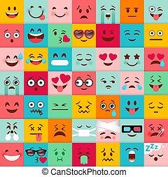 かわいい, emoticons, 広場, pattern., icons., colorfu, ベクトル, emoji