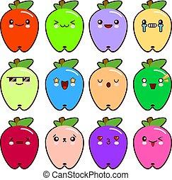 かわいい, emoticons, 12, セット, アップル, 平ら, 現代, 別, イラスト, 漫画, ベクトル, emotions., style.