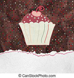 かわいい, frame., eps, cupcake, レトロ, 8
