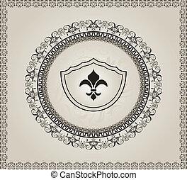 かわいい, heraldic, 背景, 要素