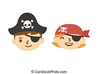かわいい, hildren, 海賊