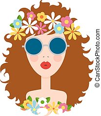かわいい, illustration., 女の子, 平ら, 顔, バックグラウンド。, ベクトル, デザイン, element., 白, smile., style., 漫画