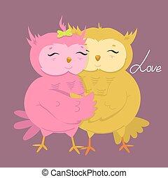 かわいい, illustration., love., 挨拶, フクロウ, ベクトル, カード