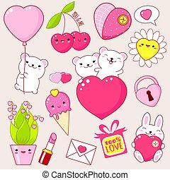 かわいい, kawaii, 日, アイコン, セット, バレンタイン, スタイル