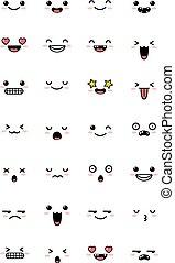 かわいい, manga, セット, kawaii, 感情, emoticon, 甘い, 漫画, emoji., コレクション
