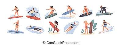 かわいい, ocean., 人々, 隔離された, 海, 面白い, swimwear, バックグラウンド。, 白, サーフボード, 幸せ, 平ら, カラフルである, 束, コレクション, 漫画, サーフィン, illustration., beachwear, サーファー, ベクトル, ∥あるいは∥