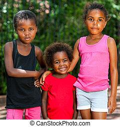 かわいい, outdoors., アフリカ, 三人組