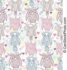 かわいい, pattern., seamless, フクロウ
