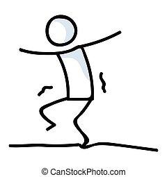 かわいい, pictogram., graphic., コミュニケーション, バランス, lineart, 曲芸師, 数字, 危険, 実行者, illustration., 危険, 歩くこと, icon., ベクトル, 勇士, スティック, 綱