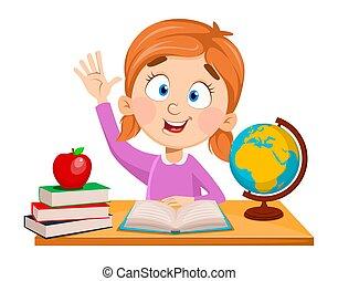 かわいい, school., 深く座る, 机, 女の子
