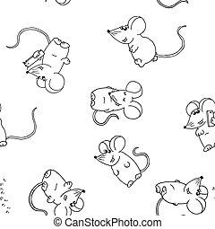 かわいい, seamless, 白, バックグラウンド。, 面白い, マウス, パターン