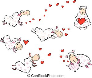 かわいい, sheep, 中に, ∥, 形態, の, 心