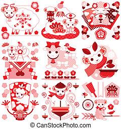 かわいい, sheep, 赤, ピンク