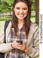 かわいい, smartphone, ティーネージャー, 肖像画