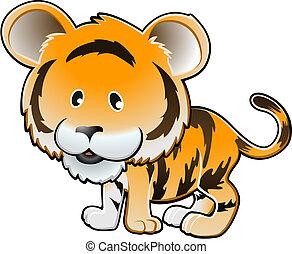 かわいい, tiger, イラスト, ベクトル