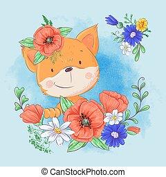 かわいい, wildflowers., 花輪, キツネ, イラスト, ベクトル, cornflowers, ケシ, 漫画, 赤