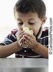 かわいそうな少年, わずかしか, 食用の食物, ポット, 肖像画, 米, 窮乏