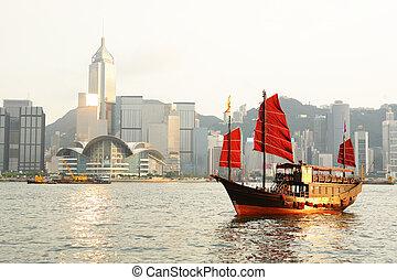 がらくた, kong, 観光客, 港, hong
