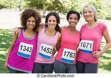 がん, 女性, 関係者, 胸, マラソン