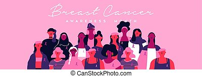 がん, 月, ピンク, 女性, 旗, 多様