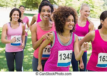 がん, 関係者, 胸, 動くこと, マラソン