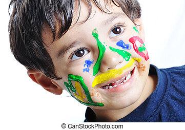 きたない, かわいい, 子供, ∥で∥, 色, 上に, 彼の, 顔, 面白い, 現場